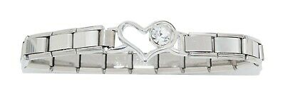 Heart Bracelet with clear stone - fits 9mm classic Italian charms - Mother's day