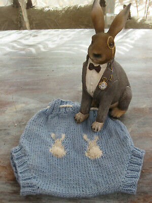 Pure wool hand knitted soaker nappy diaper cover Easter Bunnies , rabbit.