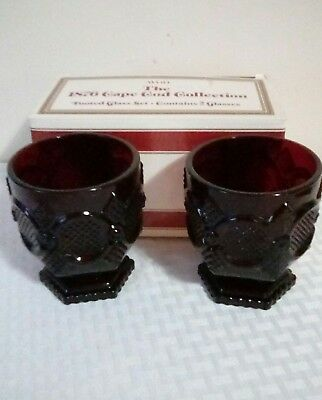 Avon Ruby Red 1869 Cape Cod Collection Set Of 2 Footed Drinking Glasses Original