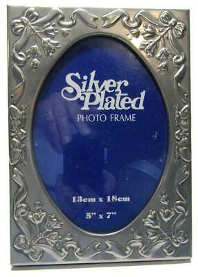"Photo Frame Silverplated Emboss Bows Ribbon Flowers Butterfly 5"" x 7"""