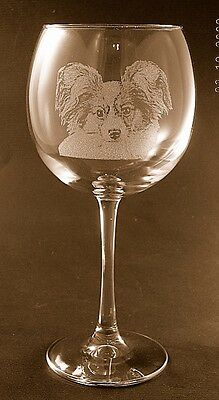 New Etched Papillon on Large Elegant Wine Glasses - Set of 2