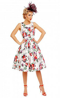 Dolly & Dotty 50's White Annie Retro Pink Floral Rockabilly PinUp Vintage Dress
