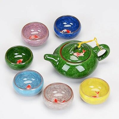 Ceramic Tea Set Ice Crack Glazed 7pcs Kung Fu Teapot and Teacups Set Tea Ware