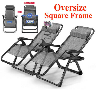 2X Heavy Duty Zero Gravity Folding Lounge Beach Chairs Square Frame+Holder Black