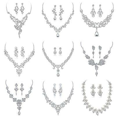 Bridal Wedding Party Jewelry Set Crystal Rhinestone Necklace & Earrings Bling