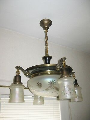 Antique Pan Chandelier w/ Center Dome & 4 Pendant Shades Etched Opalescent Glass