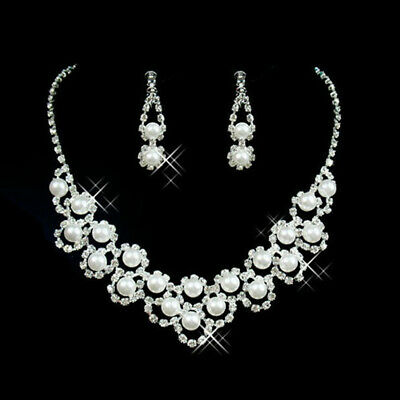 Fashion Women Pearl Crystal Necklace Earrings Bridal Wedding Party Jewelry Set