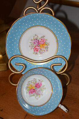 Rare Vintage Royal Albert Crown China tea cup/saucer 1925-35 Blue dots & floral