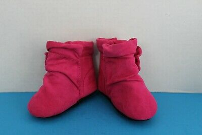 The Childrens Place Infant Baby GIRL~Soft Dark Pink Suede BOOTS~Size 3-6 Mo~Crib