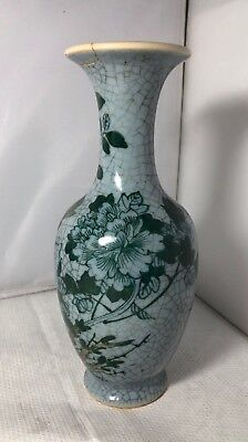 Antique Unusual Chinese Japanese Crackle Glaze Vase Hand Painted Bird In Flowers