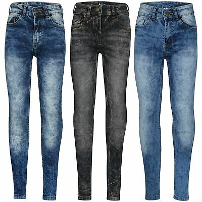 Kids Boys Skinny Jeans Ripped Dark Blue Denim Stretchy Slim Pants Trousers 5-13Y