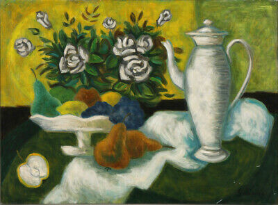 Laurent Marcel Salinas. Nature-Morte aux Roses Blanches. Oil on canvas.