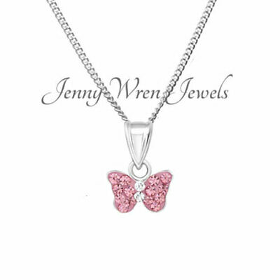 CHILDREN's kids girls jewellery Sterling SILVER CRYSTAL Butterfly Necklace chain