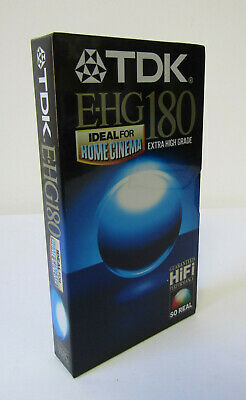 Retro 1990s TDK EHG180 3 Hour Extra High Grade Blank VHS Video Cassette Tape NOS