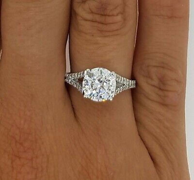 4.00 Ct D/si1 Certified Round Cut Diamond Engagement Ring 14K White Gold