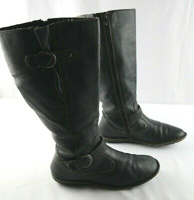 501854b10a7 BOC BORN CONCEPT Black Suede Leather Knee High Heel Zip Up Studded ...