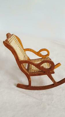 Vintage Hand Crafted Wooden Detailed Dollhouse Furniture Wicker Rocking Chair