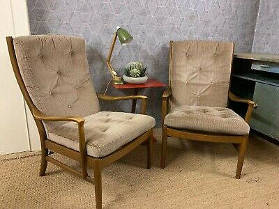 A Pair of Vintage Retro Parker knoll Arm Chairs