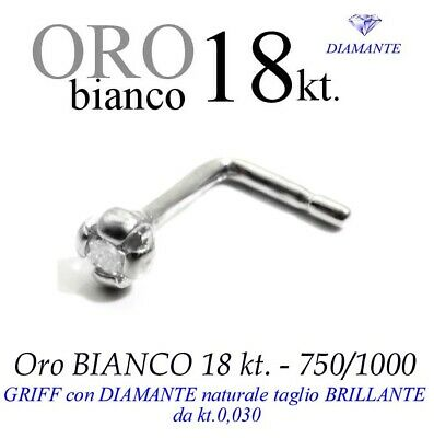 Piercing naso nose GRIFF 4 punte ORO BIANCO 18kt. DIAMANTE kt.0,030 white gold