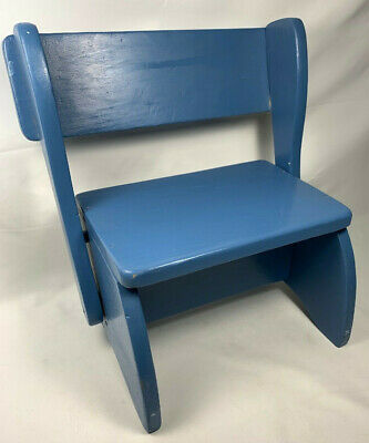 Vintage Wood Childs Step Stool Converts Folds to Seat Bench