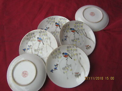 Antique Vintage Old set of 6 Small Japanese Porcelain Plates Made in Japan