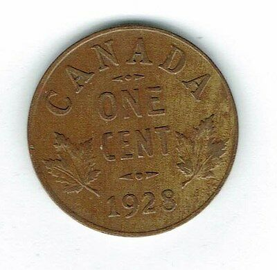 1928 Canadian Circulated George V One Small Cent coin!