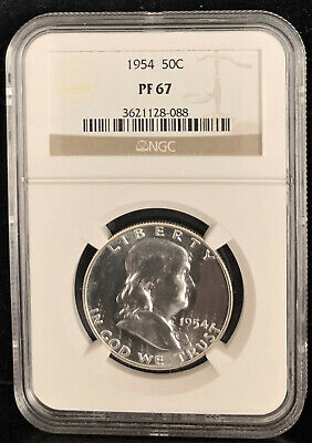 1954 SILVER PROOF FRANKLIN HALF DOLLAR 50c - NGC PF67