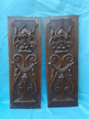 Antique French: Pair Carved Oak Door Panel Richly Decorated  - 19th