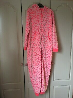 Girls M&S Fleece All in one Sleepsuit Pink Leopard Print Age 13-14 Years