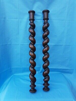 Antique French: Spiral Turned Twist Oak Pillars Architectural Columns Wood, 19th