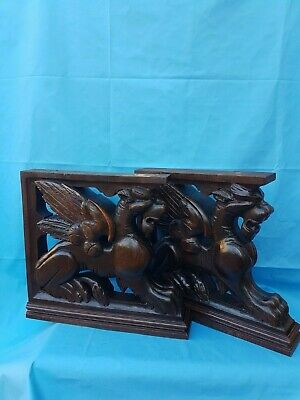 Antique French: pair of pedestals / statues in solid oak, 19th, carved /griffins