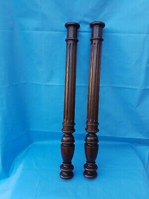 French Antique Solid Oak 2 Posts/Pillars/Columns Salvage 25.59""