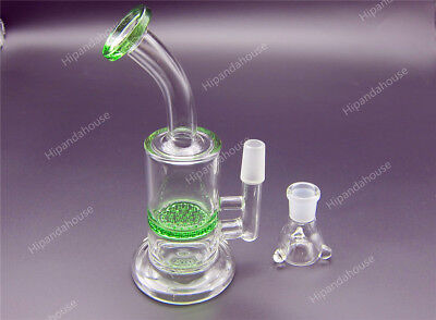 "6"" inch green Hookah Water Pipe Bong Honey Comb Smoking Bubbler Bent Glasses"