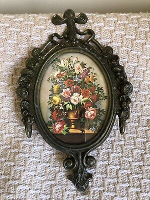 Vintage Ornate Metal Oval Floral Bonquet Picture Frame Made In Italy~Rose Edge