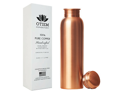 Otiem Copper Water Bottle Ayurvedic - 1 Litre - 100 Pure Copper Leak Proof Large
