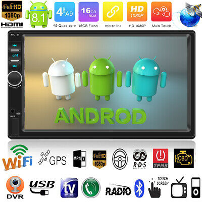 "Android 8.1 Quad Core 7"" 2DIN GPS Navi WIFI Car Stereo MP5 Radio Player w/Camera"