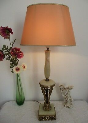 Large Vintage French Marble and Decorative Brass Table Lamp With Oval Shade 863
