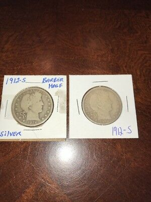 Lot Of (2) 1912-S BARBER HALF DOLLAR-FINE!! SCARCE BETTER DATE!!