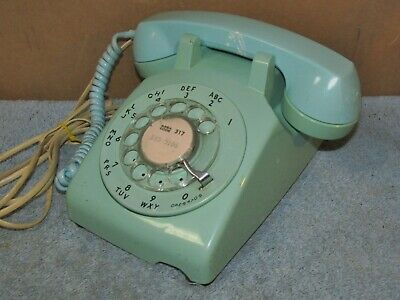 Vtg NFS BELL WESTERN ELECTRIC Rotary Telephone Molded In Mint Green J0354