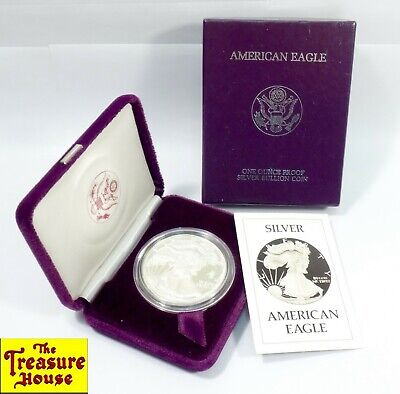 1986-S American Eagle S$1 ONE DOLLAR 1 OZ .999 Fine Silver Proof Coin OGP & COA!