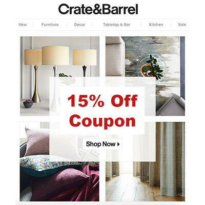 Crate and Barrel 15% OFF Entire Purchase Coupon - Furniture Included - Exp 3/31