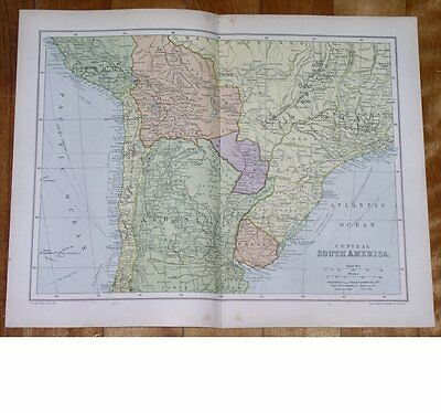 1912 Antique Map Of Northern Argentina Chile Bolivia / South America