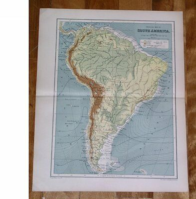 1912 Antique Physique Map Of South America / Brazil Argentina / Andes