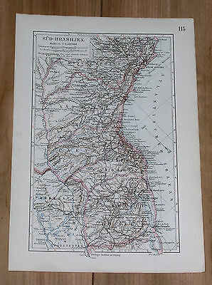 1899 Original Antique Map Of Southern Brazil / South America