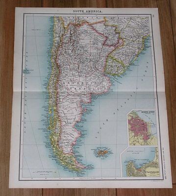 1903 Antique Map Of Argentina Chile Falklands Buenos Aires South America