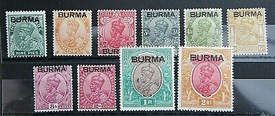 Burma - Fine Range Of Mint Gv Definitive Issues To 2R