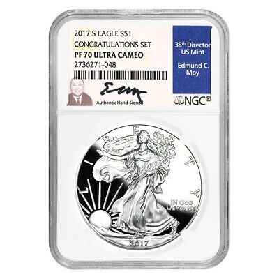 2017-S 1 oz Proof Silver American Eagle Congratulations Set NGC PF 70 Edmund Moy