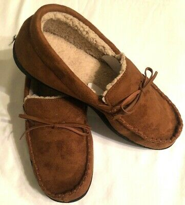 0a98970dc203f ISOTONER MEMORYSTEP Boater Moccasin Brown Slippers Mens Sz L 9.5 - 10.5 NEW