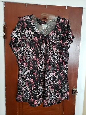 MOTHERHOOD Maternity Women's L Black Pink Floral Sheer 100% Polyester Shirt