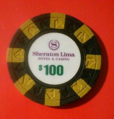 Sheraton Lima Hotel And Casino Horse Head Right Mold $100.00 Black Gaming Chip!